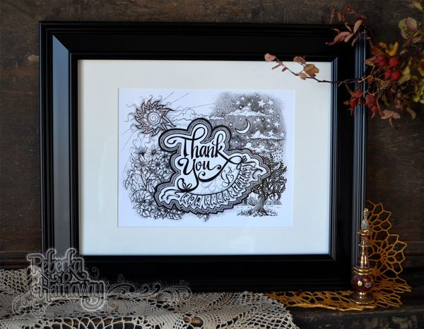 Thank You God 8x10 art print with matte. Beautiful detailed black and white pen and ink.