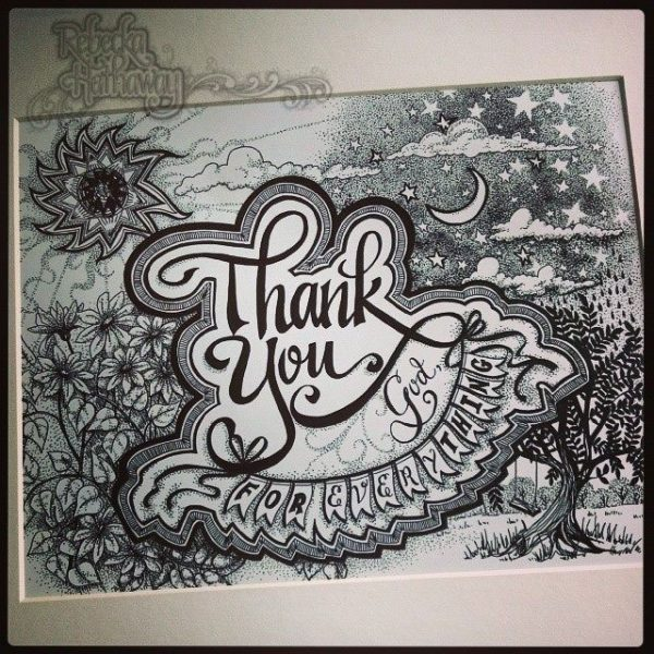 Thank you God for everything. Black and white art print.