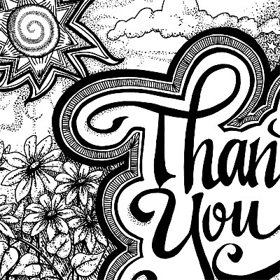 Thank you God - detail of pen and ink print