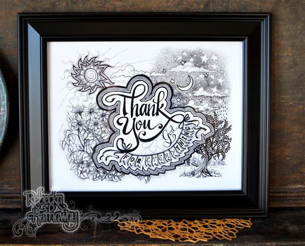 Thank you God for everything 11x14 beautiful black and white print