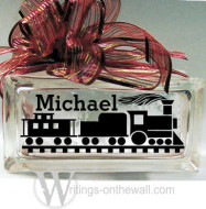 Train personalized small glass block vinyl