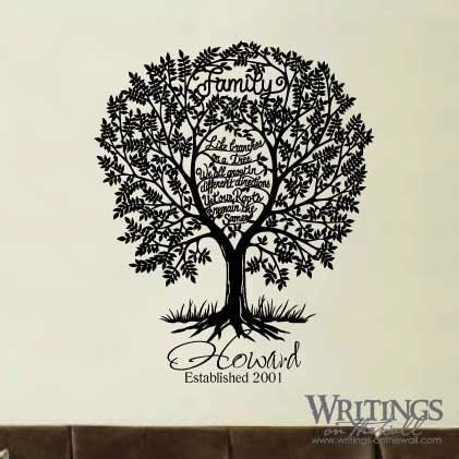 Like branches on a tree we all grow in different directions, yet our roots remain the same. vinyl wall decal with custom name