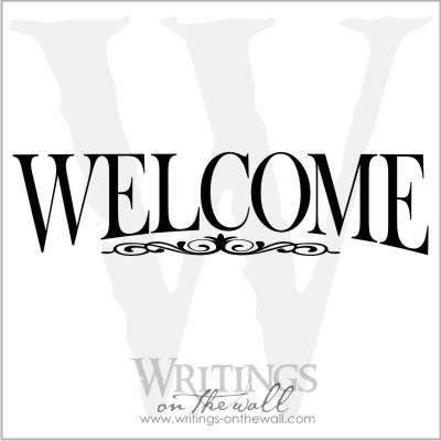 Welcome with decorative scroll